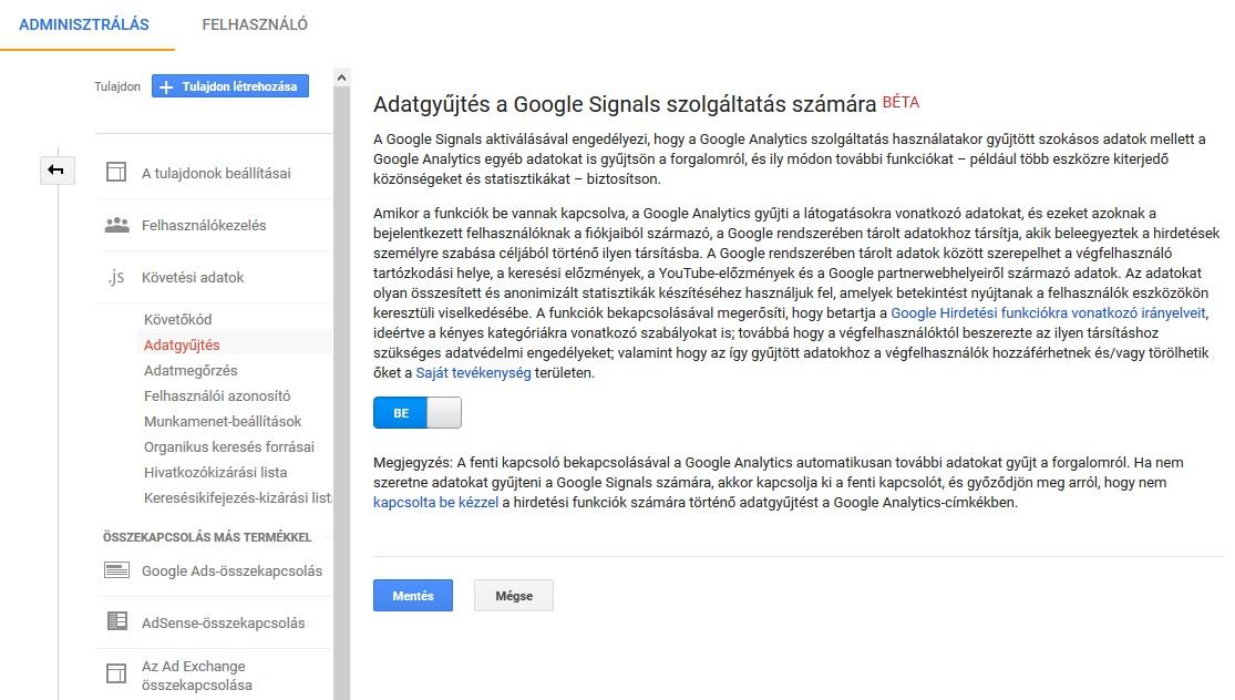 Google Signals beállítása