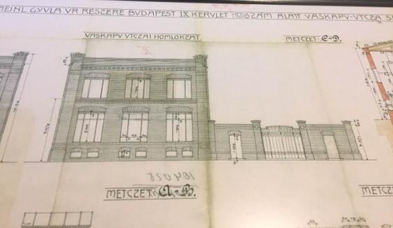 A Vaskapu 20. szám alatti épület építéskori tervrajza